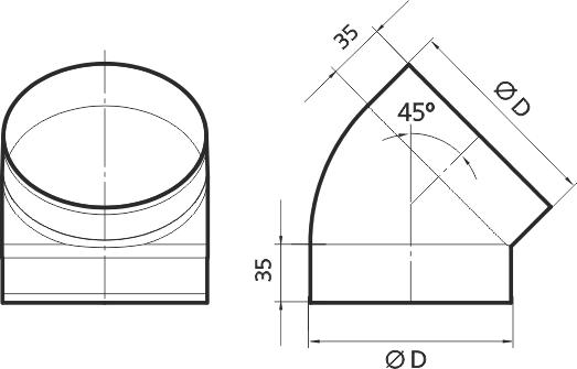 12,5ККП 45° Эра. Колено круглое пластик 45°, D125
