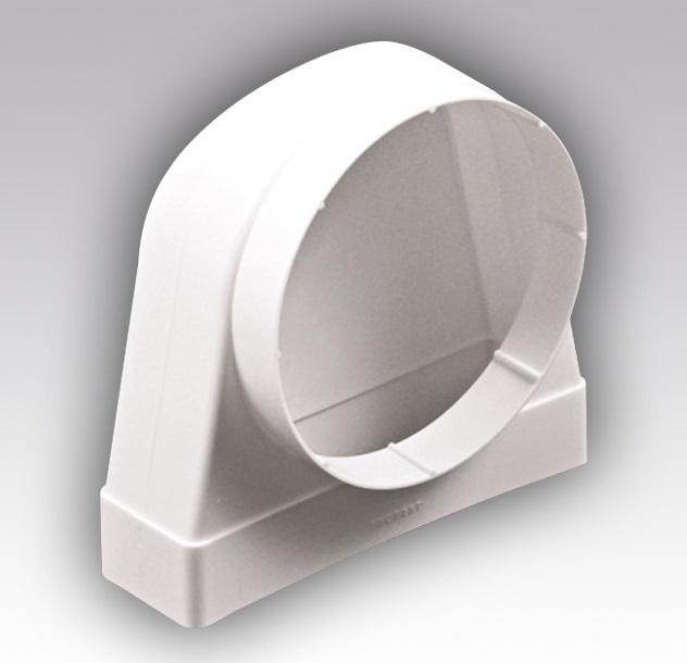 511СК10КП Эра, Соединитель угловой 90°, плоского воздуховода с круглым пластик, 55х110/D100