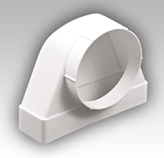 612СК10ФП Эра, Соединитель угловой 90° пластик, плоского воздуховода с фланц. круг. 60х120/D100