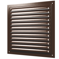 1212МЭ кор Эра. Решетка вентиляционная стальная, эмаль 125х125 коричневая