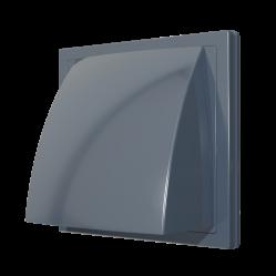 1515К10ФВ сер Эра. Выход стенной вытяжной с обр. клапаном 150х150 с фланцем D100, серый, ASA-пласт