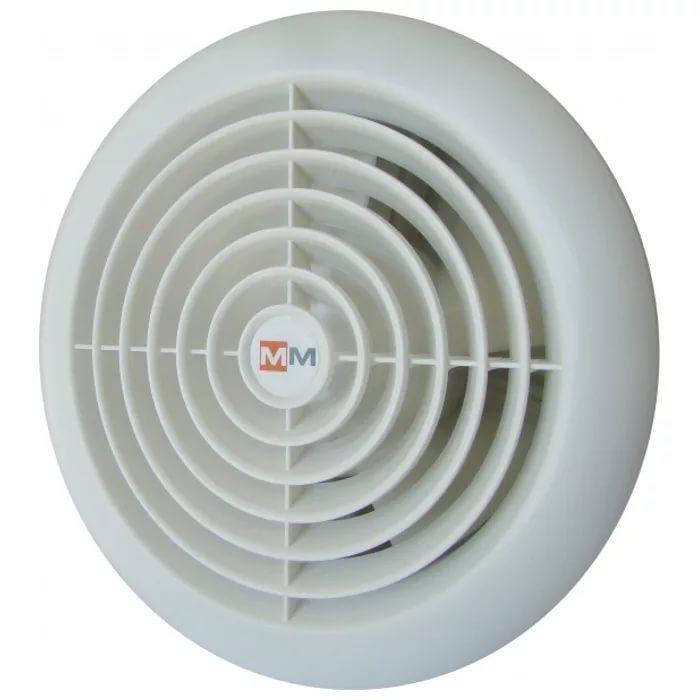 Вентилятор  ММ 100 круглый белый c обратным клапаном