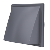 1515К12,5ФВ сер, Выход стенной вытяжной с обратным клапаном 150х150 с фланцем D125, ASA, серый