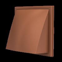 1515К12,5ФВ терр, Выход стенной вытяжной с обратным клапаном 150х150 с фланцем D125,ASA,терракотовый