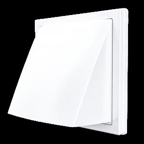 1515К12,5ФВ, Выход стенной вытяжной с обратным клапаном 150х150 с фланцем D125, ASA, бел
