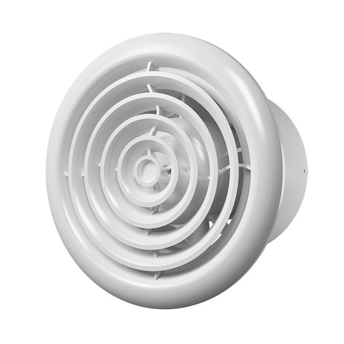 Flow 4С ВВ Эра. Вентилятор осевой вытяжной с обр.клап.,круглой реш. и дв. на ш.п. D100