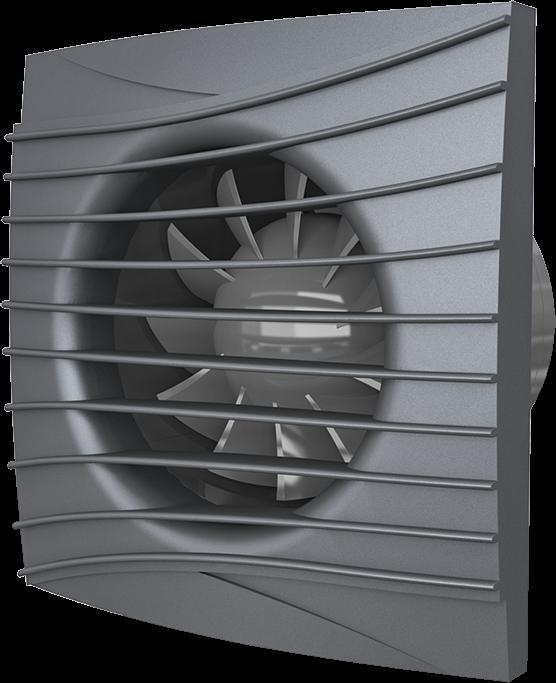 SILENT 4C dark gray metal, Вентилятор осевой вытяжной с обратным клапаном D 100, декоративный