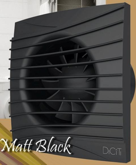 SILENT 4C Matt black, ЭРА. Вентилятор осевой вытяжной с обратным клапаном D 100, декоративный