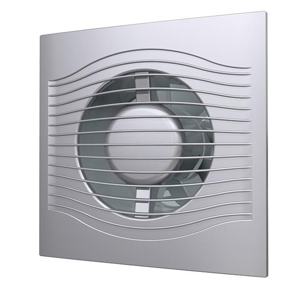 SLIM 5C gray metal Эра. Вентилятор осевой вытяжной с обр. клап. D 125, декоративный